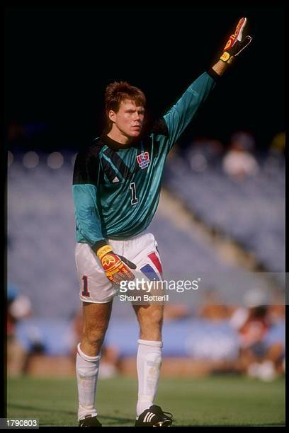 Brad Friedel of the USA stands on the field during a game against Italy during the Olympic Games in Barcelona Spain Italy won the game 21