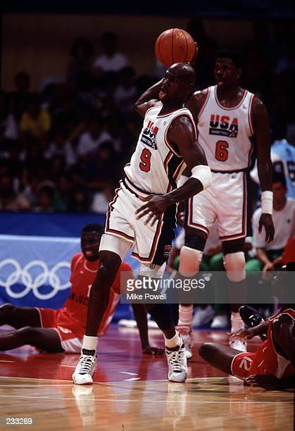 Michael Jordan and the USA Dream Team in action against Angola at the 1992 Barcelona Olympics The Dream Team won the gold medal