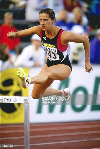Sally Gunnell of Great Britain clears a hurdle during the 400 Metre Hurdles event at the IAAF Mobil Grand Prix in Stockholm Sweden Gunnell finished...