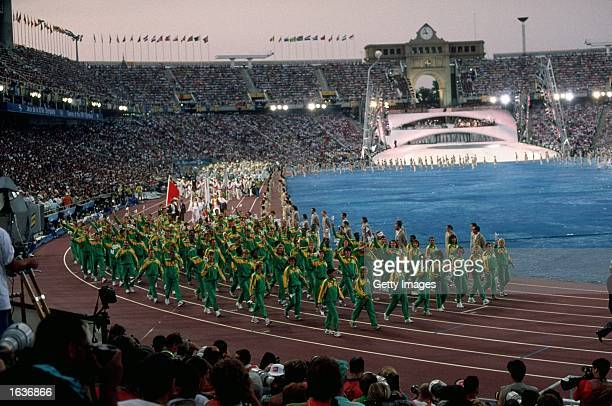The South African delegation walk around the Olympic Stadium during the Opening Ceremony of the 1992 Olympic Games in Barcelona Spain It was the...