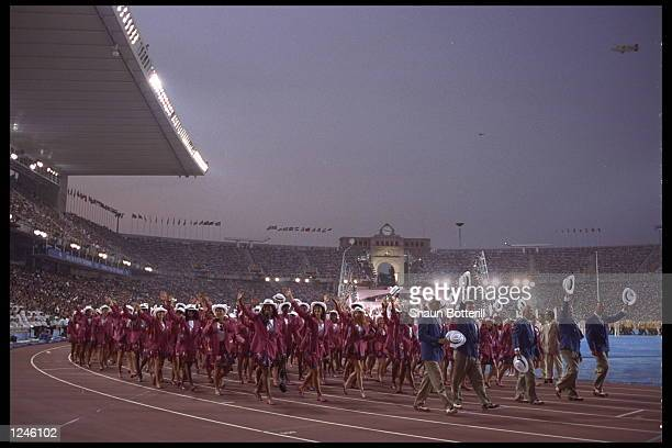 The USA Olympic Team marches on the track during the Opening Ceremony for the 1992 Summer Olympic Games at the Olympic Stadium in Barcelona Spain...
