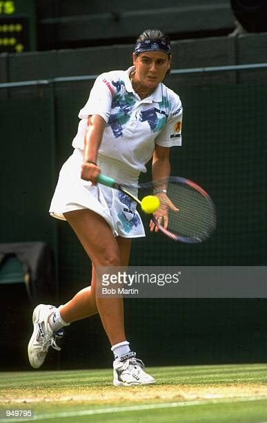 Conchita Martinez of Spain in action during the Womens Singles Final at the Lawn Tennis Championships at Wimbledon in London Mandatory Credit Bob...