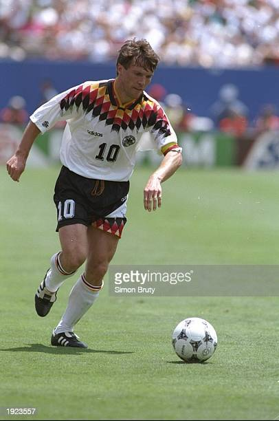 Lothar Matthaus of Germany in action during the World Cup quarterfinal against Bulgaria at the Giants Stadium in New York USA Bulgaria won the match...