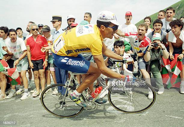 Miguel Indurain of Spain is cheered up Luz Ardiden by his fans during Stage Twelve of the Tour De France between Cahors and Lourdes Mandatory Credit...