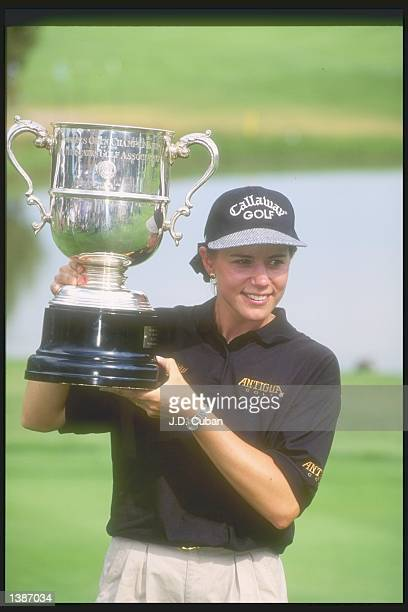 Annika Sorenstam proudly holds her trophy during the US Women''s Open tournament at the Broadmoor Golf Club in Colorado Springs Colorado Mandatory...