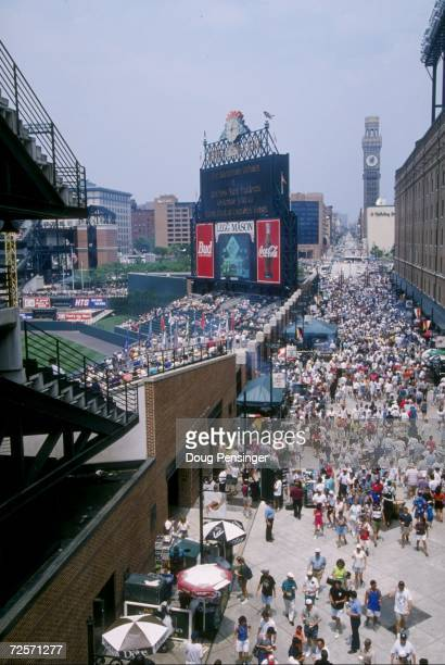 A general view of Oriole Park from an ajoining alley way in right field during the Orioles 41 loss to the New York Yankees at Camden Yards in...
