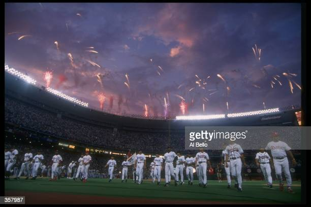 General view of the MLB AllStar Game at Veterans Stadium in Philadelphia Pennsylvania Mandatory Credit Al Bello /Allsport