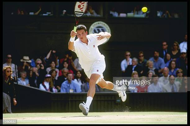 Richard Krajicek of the Netherlands in action in the mens singles final at the Wimbledon tennis championships at the all England Tennis Club London...