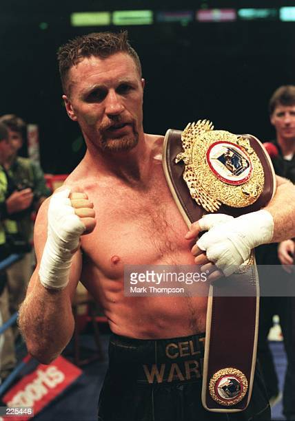 Steve Collins of Ireland keeps his WBO super middleweight belt after beating Nigel Benn at the Nynex Arena in Manchester The fight was stopped after...