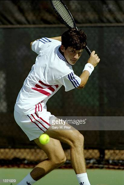 Tim Henman of Great Britain in action during the match against Shuzo Matsuoka of Japan played at the 1996 Centennial Olympic Games held at Stone...