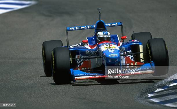 Gerhard Berger of Austria steers his BenettonRenault through a chicane during the German Grand Prix at Hockenheim in Germany Berger won the race...