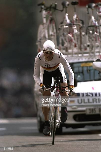 Jan Ullrich of Germany and Team Telekom in action during the 73km time trial prologue of the Tour de France in Rouen Ullrich finished in 2nd place...