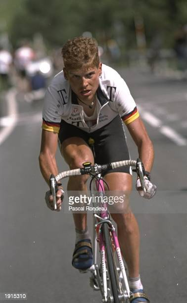 Jan Ullrich of Germany and the Telekom team pulls away in the final straight during Stage 10 of the Tour de France from Luchon to Archalis in Andorra...