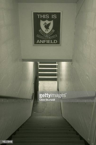 The famous players tunnell at Anfield Stadium home of Liverpool Football Club in Liverpool England Mandatory Credit Clive Brunskill /Allsport