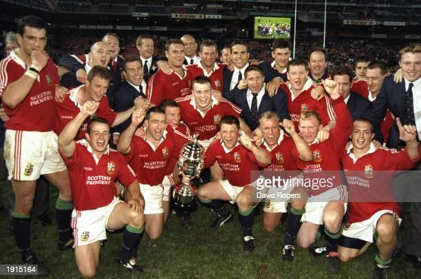 The victorious British Lions team celebrate after the third test match against South Africa at Ellis Park in Johannesburg South Africa South Africa...