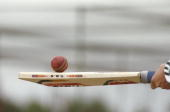 A cricket bat and ball during the Third Test match between England and South Africa at Old Trafford in Manchester England The match ended in a draw...