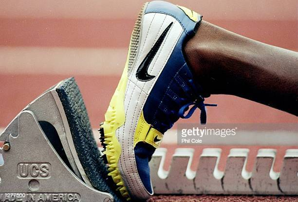 A Nike running spike on the starintg blocks for the start of the 400m during the Bupa AAA's Championships at the Alexander Stadium in Birmingham...