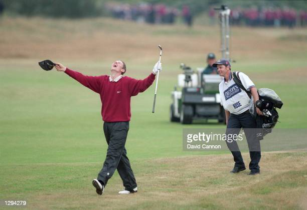Amateur player Justin Rose holes his third shot on the 18th hole during the 1998 British Open held at Royal Birkdale Southport Merseyside England...