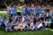 Croatia celebrate after winning the World Cup third place playoff match against Holland at the Parc des Princes in Paris The match ended 21 Mandatory...