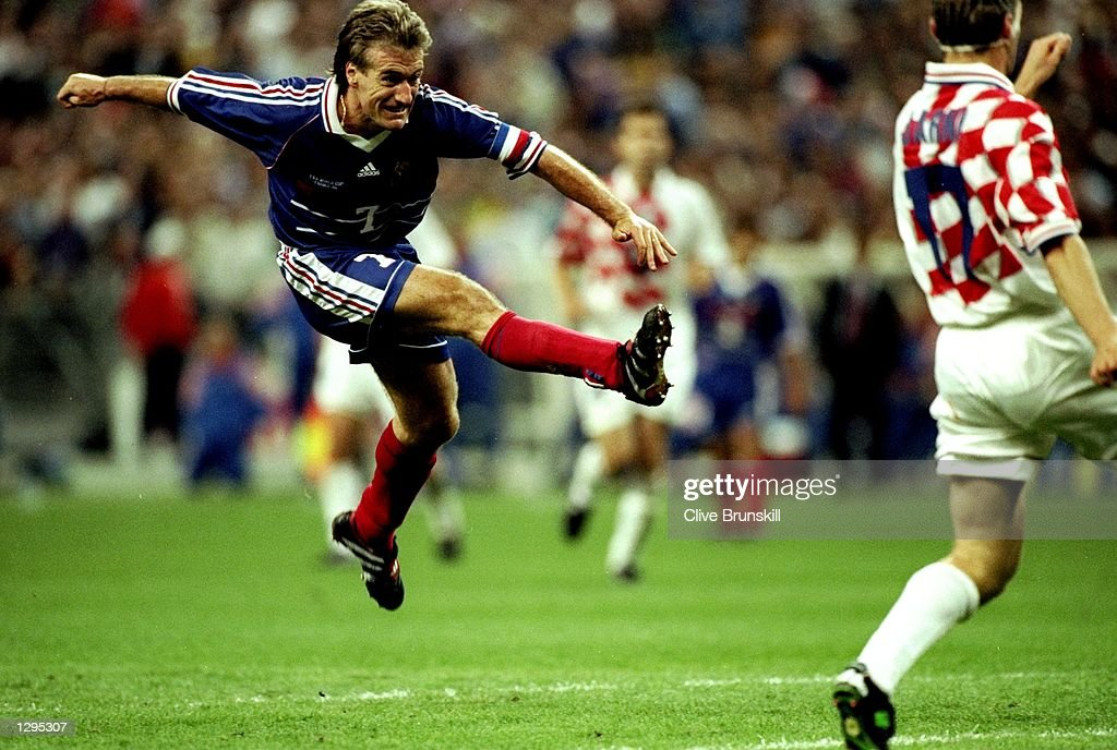 Didier Deschamps of France shoots at goal in the match between France v Croatia in the 1998 World Cup played in St. Denis, France. \ Mandatory Credit: Clive Brunskill /Allsport