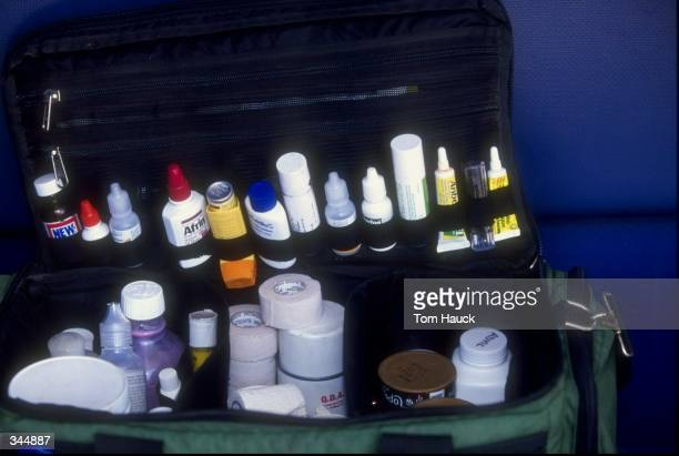 General view of a first aid kit during a game between the Houston Astros and the San Diego Padres at the Qualcomm Stadium in San Diego California The...