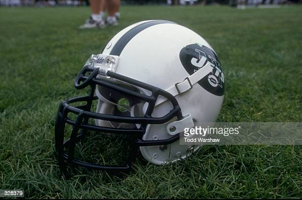 General view of the new helmets for the New York Jets during the 1998 New York Jets Training Camp at the Hofstra University in Hempstead New York...