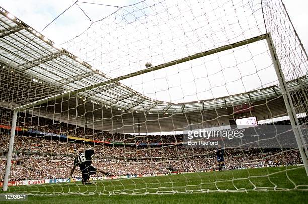 Luigi di Biagio of Italy rattles the crossbar with his spotkick to send France through on penalties in the World Cup quarterfinal match at the Stade...