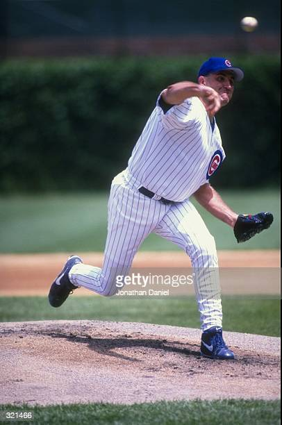 Pitcher Mark Clark of the Chicago Cubs in action during a game against the Pittsburgh Pirates at Wrigley Field in Chicago Illinois The Cubs defeated...