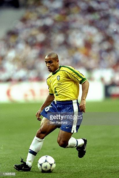 Roberto Carlos of Brazil on the ball during the World Cup Final against France at the Stade de France in St Denis Brazil lost the match 30 Mandatory...