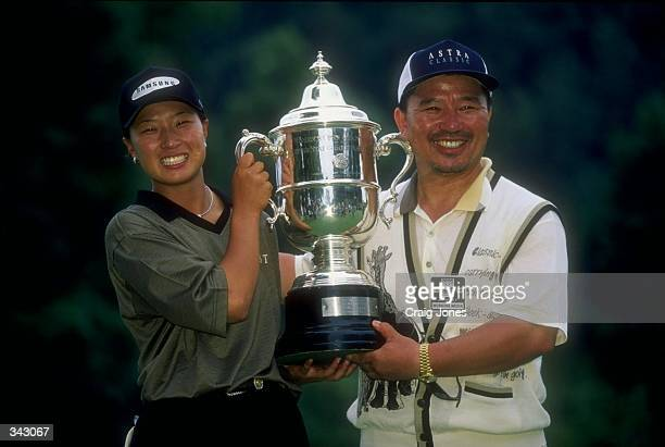 Se Ri Pak of South Korea holds trophy following the Women''s U S Open at the Blackwol Run Resort in Kohler Wisconsin Mandatory Credit Craig Jones...