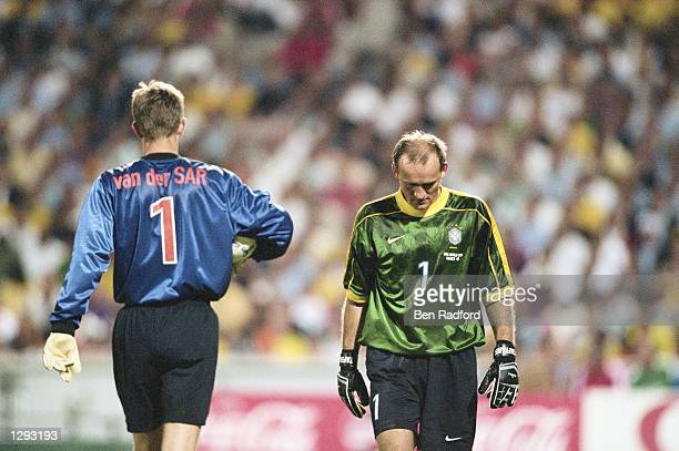The two goalkeepers Edwin van der Sar of Holland and Claudio Tafferel of Brazil prepare for the penalty shootout during the World Cup semifinal at...