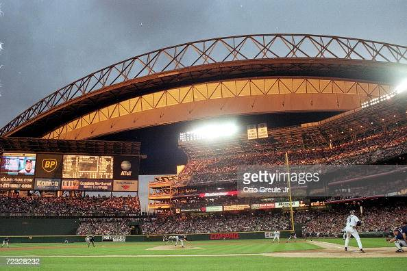 A general view at sunset of the Inaugural Game between the Seattle Mariners and the San Diego Padres at Safeco Field in Seattle Washington The Padres...