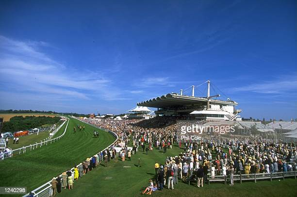 A general view of the grandstand and spectators at the Glorious Goodwood Festival Goodwood Racecourse Goodwood England Mandatory Credit Phil Cole...