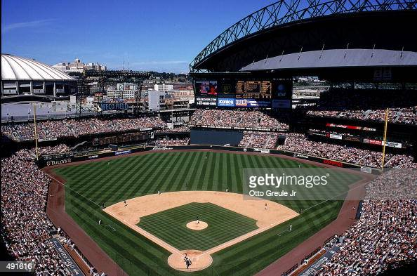 A general view of the new Safeco Field with it's top down during the game between the Seattle Mariners and the Baltimore Orioles at the Safeco Field...