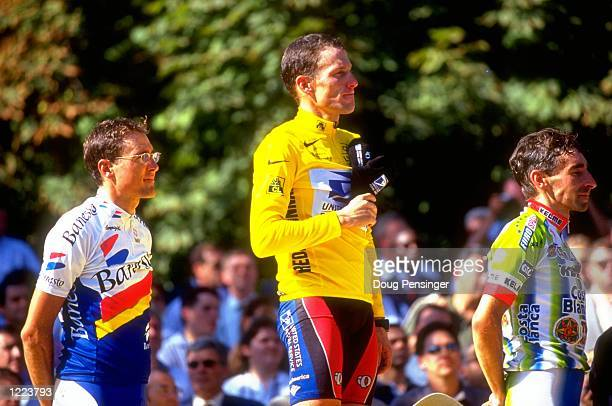 Alex Zulle of Switerland Lance Armstrong of the USA and Fernando Escartin Spain after stage 20 of the 1999 Tour de France betweenArpajon and Paris...
