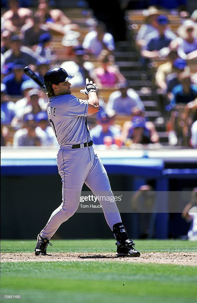 Dante Bichette #10 of the Colorado Rockies hits the ball during the game against the Los Angeles Dodgers at the Dodger Stadium in Los Angeles, California. The Rockies defeated the Dodgers 4-1.