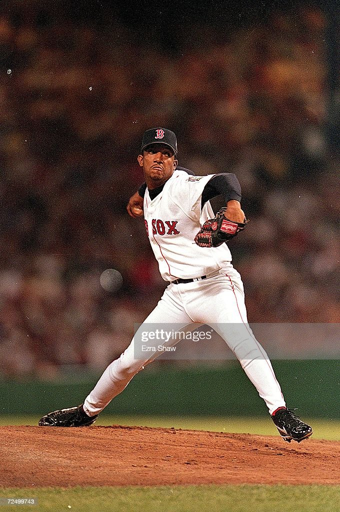 <a gi-track='captionPersonalityLinkClicked' href=/galleries/search?phrase=Pedro+Martinez&family=editorial&specificpeople=171773 ng-click='$event.stopPropagation()'>Pedro Martinez</a> #45 of the American League Team winds back to throw during the 1999 MLB All-Star Game against the National League Team at Fenway Park in Boston, Massachusetts. The American League Team defeated the National League Team 4-1. Mandatory Credit: Ezra O. Shaw /Allsport