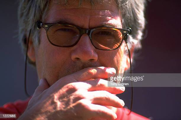 Portrait of Wimbledon manager Egil Olsen during the preseason friendly against Swindon Town at the County Ground in Swindon England Wimbledon won 30...