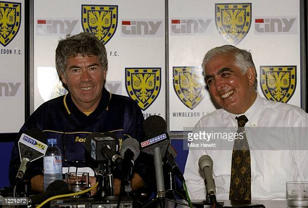 Sam Hammam one of the Wimbledon Football Club partners presents his new manager Egil Olsen to the press during a press conference held at Richardson...