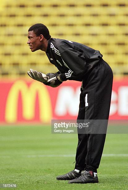 Saudi Arabia Goalkeeper Mohammed Al Deayea in action during the 1999 Confederations Cup match against Bolivia played at the Azteca Stadium in Mexico...