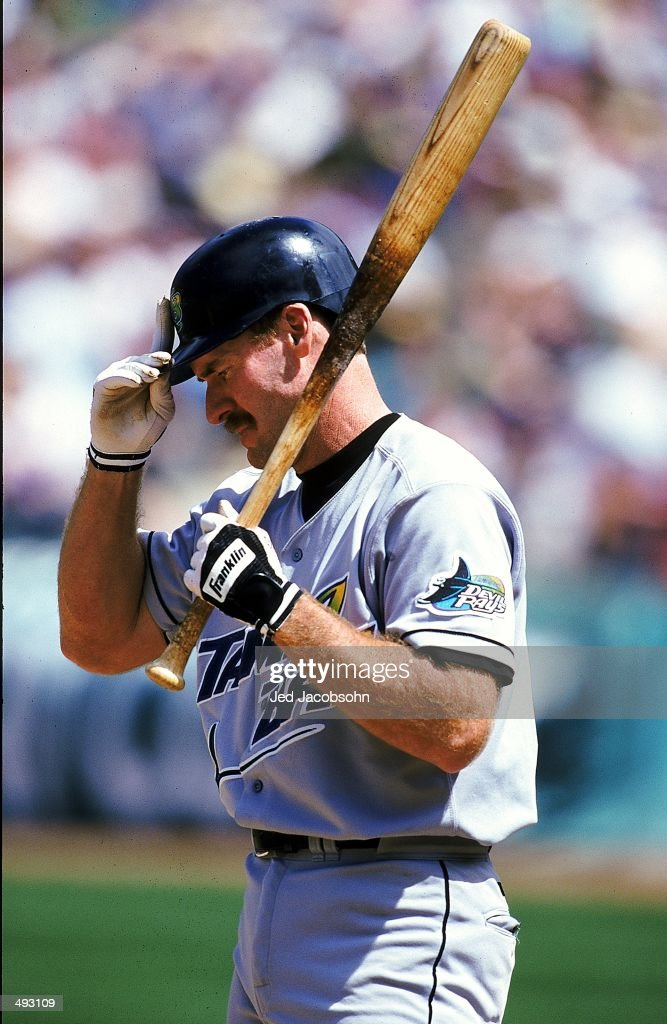 Wade Boggs of the Tampa Bay Devil Rays at bat during the game against the Oakland Athletics at the Network Colesium in Oakland California The...