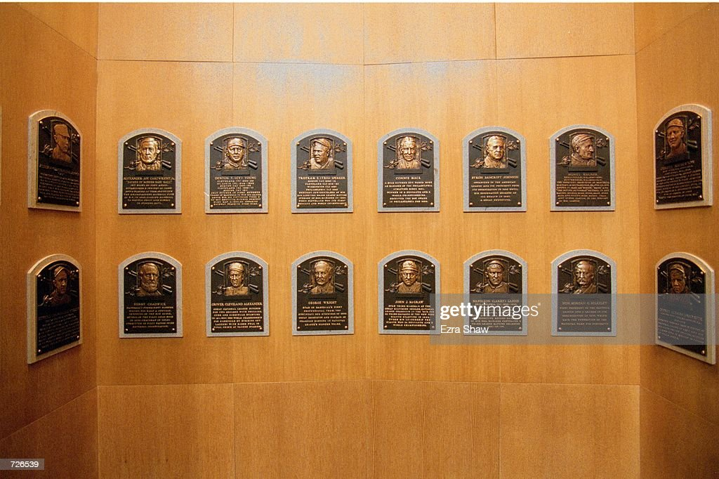 A general view of the plaques dedicated to the Legends of Baseball at the Baseball Hall of Fame in Cooperstown, New York.Mandatory Credit: Ezra O. Shaw /Allsport