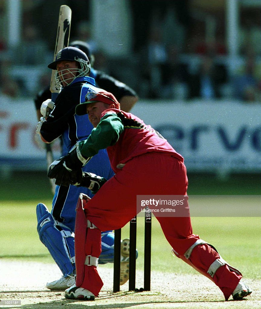 Alec Stewart of England on his way to ninty-seven before losing his wicket to Heath Streak of Zimbabwe caught behind by Andy Flower during the match between England and Zimbabwe in the Final of the NatWest Triangular series at Lord's, London . Mandatory Credit: Laurence Griffiths/ALLSPORT