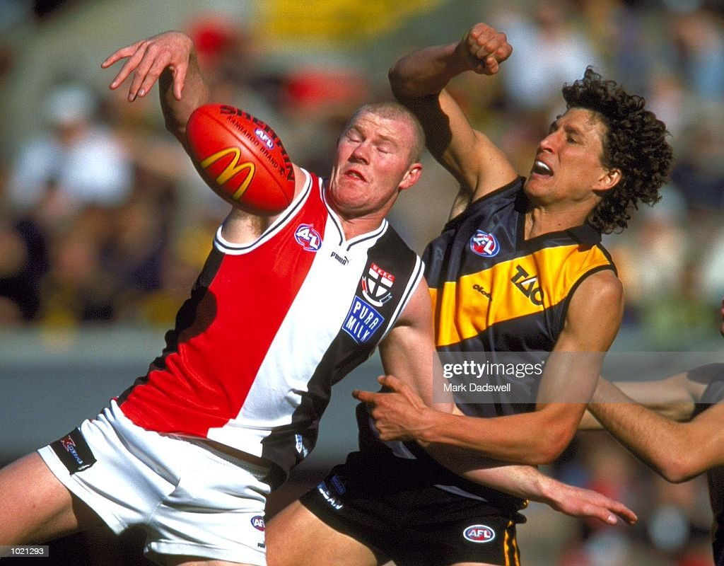 Barry Hall #25 for St Kilda contests for the ball against Darren Gaspar #2 for Richmond in the match between the Richmond Tigers and the St Kilda Saints, during round 20 of the AFL season played at the Melbourne Cricket Ground in Melbourne, Australia. Mandatory Credit: Mark Dadswell/ALLSPORT