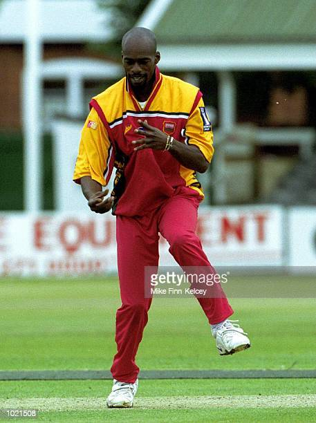 Chris Lewis of Leicestershire Foxes celebrates the dismissal of Neil Fairbrother of Lancashire Lightning for nought in the Norwich Union NCL Division...