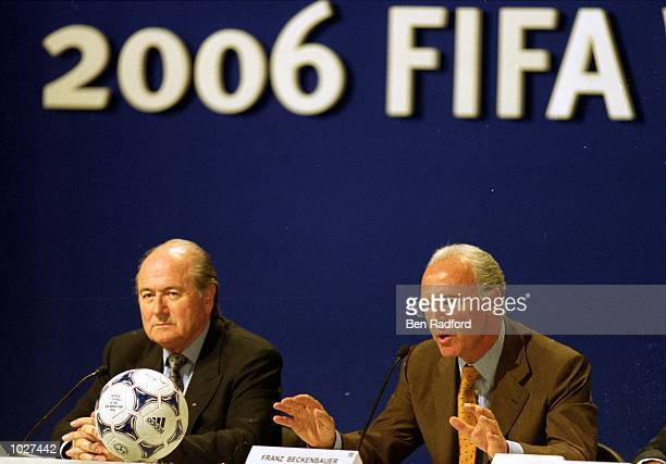 FIFA President Sepp Blatter and German representative Franz Beckenbauer at the announcement of the winning bid for the 2006 World Cup in Zurich...