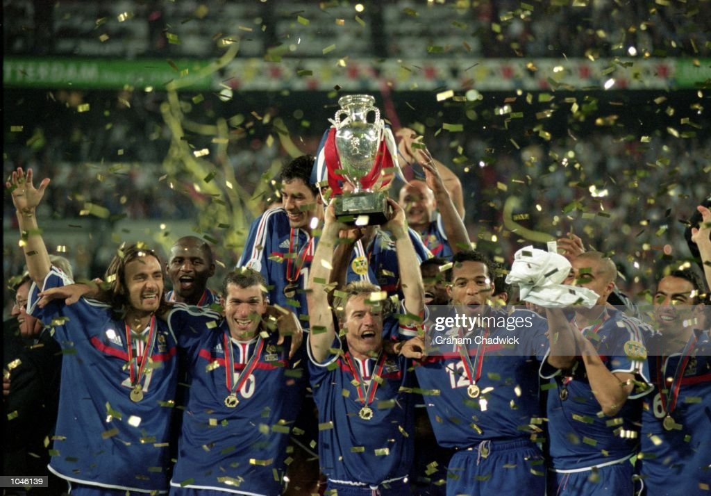 France celebrate victory after the European Championships 2000 Final against Italy at the De Kuip stadium Rotterdam Holland France won 21 after Extra...