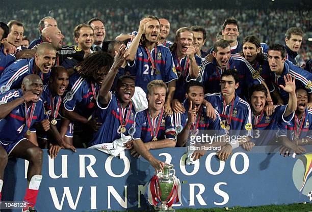France players celebrate after the European Championships 2000 Final against Italy at the De Kuip stadium Rotterdam Holland France won 21 after Extra...