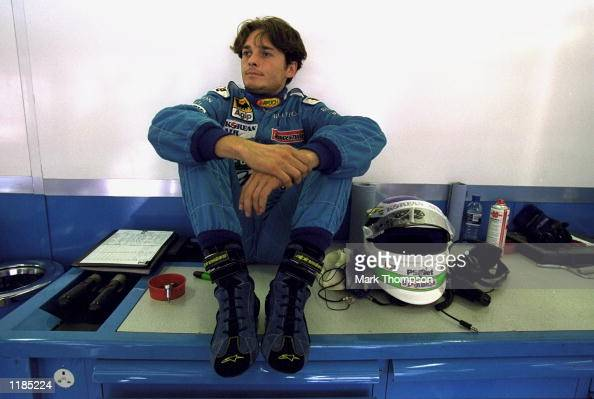 Giancarlo Fisichella of Italy and Benetton in relaxed mood during the French Formula One Grand Prix at Magny Cours in France Mandatory Credit Mark...
