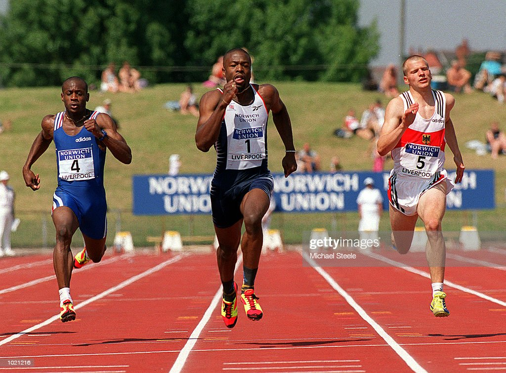 Jon Barbour of Great Britain in action during the Men's 100 metres final of the Norwich Union International Athletics Under 23 Meeting at Wavertree Athletics Centre, Liverpool. Mandatory Credit: Michael Steele/ALLSPORT